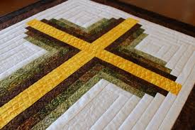 Cross Quilt Pattern Mesmerizing Cross Quilt Pattern Log Cabin Christian Cross Twin Size Etsy