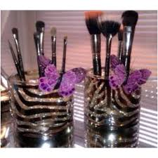 diy makeup brush holder using bath and body works candle jars and their candle jar holders