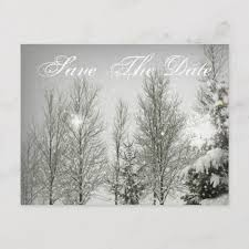 Winter Wedding Save The Date Romantic Forest Trees Winter Wedding Save The Date Announcement