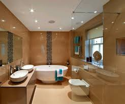 bathroom modern bathroom ceiling lighting small rug on the brown wood laminate floor wall mounted
