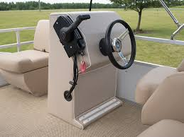 newly reupholstered steering console on our project pontoon boat