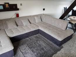Couch Sofa Wohnlandschaft Grau Schwarz