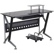 flash furniture black glass computer desk with pull out keyboard tray and cpu cart