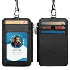 details about genuine leather id badge holder neck strap travel lanyard cross bag wallet