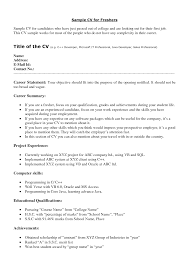 Cover Letter Freshers Resume Sample Freshers Resume Samples In