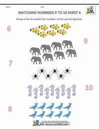 Pre K Math Worksheets Matching 6 To 10 Free Preschool Numb ~ Koogra