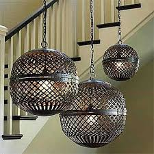 moroccan inspired lighting. These Hanging Recycled Metal Globes Captures The Geo Vibe That Perfectly Blends With Today\u0027s Trend. They Add Warmth And Style, To This Otherwise Empty Moroccan Inspired Lighting Pinterest