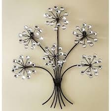 ... Elegant Hanging Metal Wall Art Decorating Ideas Shiny Silver Dandelion  Flower Black Stems ...