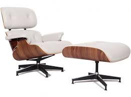 replica eames lounge chair ottoman in ivory white 100 italian aniline