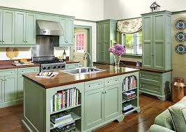 Green Kitchen Cabinets Vintage Hood And Butcher Block For Country