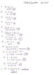 order of operations worksheet solutions
