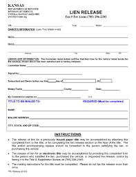 car lien release new jerseyKansas Lien Release  Fill Online Printable Fillable Blank