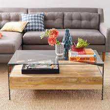 Glass Topped Rustic Storage Natural Coffee Table