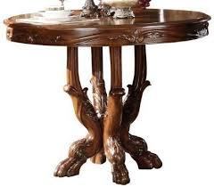 acme dresden round pedestal counter height dining table in brown cherry oak 12160 by dining rooms
