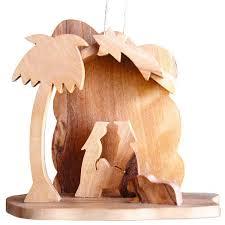 Holz Anhänger Krippe Olivenholz Christbaumschmuck Bethlehem 7cm