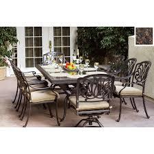 darlee 9 piece elisabeth cushioned cast aluminum ia bahamas oval 9 piece eucalyptus patio dining set
