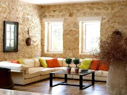 stunning living room with natural stone wall