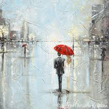 giclee print art abstract painting couple red umbrella girl grey blue city rain canvas print on couple with red umbrella wall art with canvas prints art abstract painting couple red umbrella girl wall
