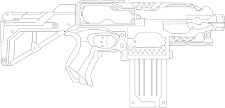 Printable Pistol Coloring Pages Army Picture Adorable Nerf Gun With