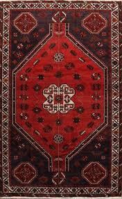 vintage geometric tribal handmade 5x8 shiiraz persian oriental area rug wool