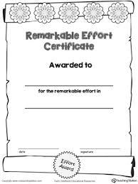 certificates of completion for kids certificate awards remarkable effort certificate