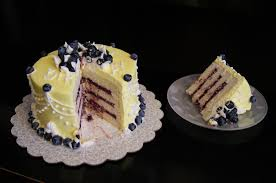Small Six Inch Round Lemon Cake With Blueberry Filling The