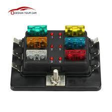 old vw fuse box spade wiring library kkmoon 6 way 12v 24v blade fuse box holder led warning light kit for car