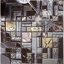 deluxe glass metal mosaic sheets brushed aluminum backsplash black and gray decorative crystal glass tile for