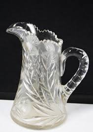 vintage heavy cut glass crystal water pitcher 9 1 of 5 see more