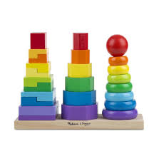 melissa doug geometric stacker wooden toy