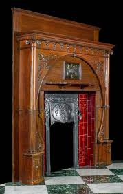 art nouveau beauty an exceptional and rare carved oak art nouveau chimneypiece with an integral decorative