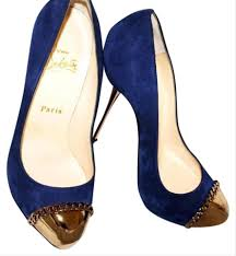 Blue Designer Heels Royal Blue Metallips Pumps