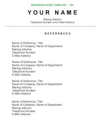 References Template Free Resume Refrences On Resume