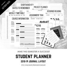 Student Planner 2018 2019 Student Planner Printable College Etsy