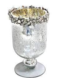 antique silver glass hurricane goblet candle holder with flower trim