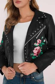 leather jackets black m i a embroidered studded faux leather jacket