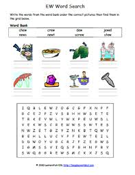 This free resource includes anchor chart and worksheets for who what when why which where whose. Vowel Digraph Ew Phonics Word Search