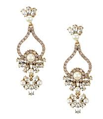 belle badgley mischka faux pearl rhinestone chandelier statement earrings