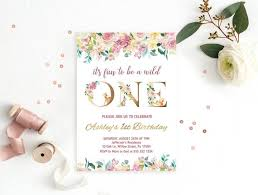 B Day Invitation Cards Floral 1st Birthday Invitation Card Girl First Birthday Invite Watercolor Flowers One Birthday Invite Gold Wild One Printable Digital File