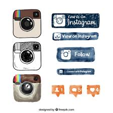 instagram vectors photos and psd files hand drawn instagram logo and buttons