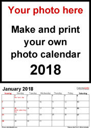 Template 1: Photo calendar 2018 for PDF, 12 pages, portrait format, standard