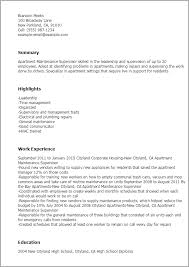 sample resume for apartment manager maintenance supervisor sample resumes ender realtypark co