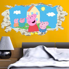 peppa pig family in wall crack kids boy girls bedroom decal art sticker gift new on peppa pig wall art stickers with peppa pig family in wall crack kids boy girls bedroom decal art