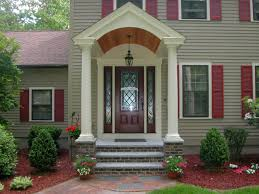 amazing image of small front porch decoration using light grey wood siding front porch wall including red wood outdoor window shutter and dark brown brick