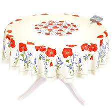 round poppies cream french acrylic coated cotton tablecloth i dream of tablecloths by