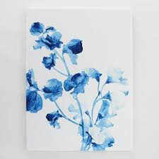 on watercolor floral wall art with blue watercolor floral art