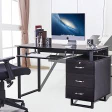 large glass office desk. Merax Large Glass Computer Desk Office With Keyboard Tray And 3 Drawers