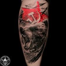 медведь и красная звезда в стиле треш полька фото татуировок