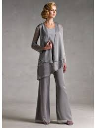 Classic Silver <b>Gray Chiffon Mother Of</b> The Bride Pant Suits - bridalok ...
