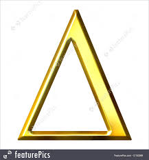 letters and numbers 3d golden greek letter delta isolated in white